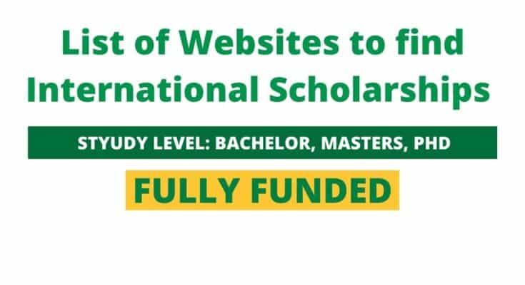 List of Websites to find International Scholarships