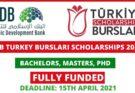 IsDB Turkiye Burslari Scholarships